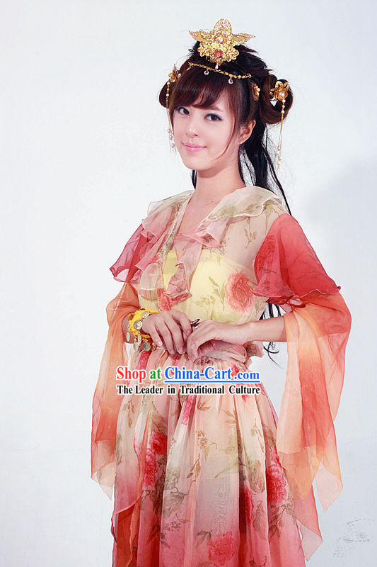 Ancient Chinese Swordswoman Huang Rong Costume for Girls