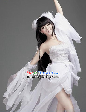 Ancient Chinese White Fairy Goddness Costumes Complete Set