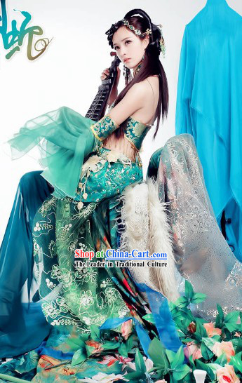 Ancient Chinese Green Green Snake Legend Xiao Qing Costumes and Headpieces