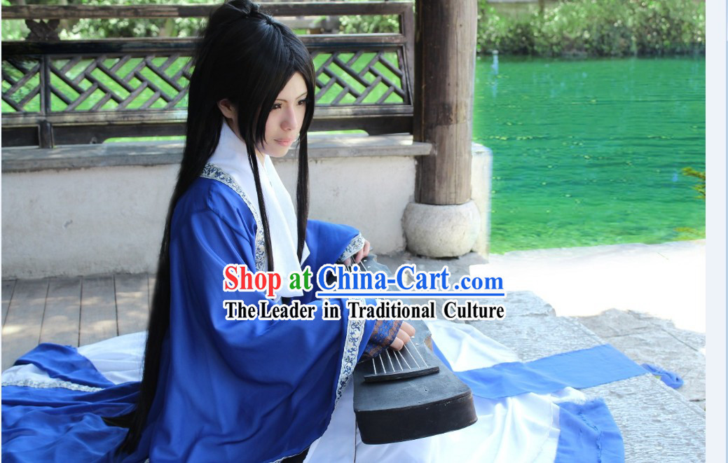 Ancient Chinese Blue Guzhuang Musician Clothes Complete Set