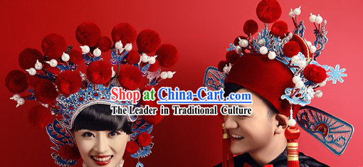 Ancient Chinese Red Bridegroom and Bride Hats Pair