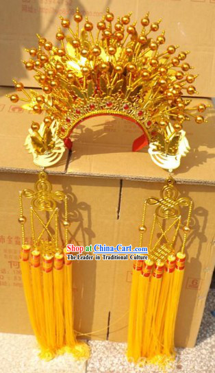 Ancient Chinese Opera Gold Butterfly Phoenix Coronet