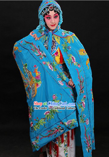 Blue Traditional Chinese Phoenix Embroidery Cape