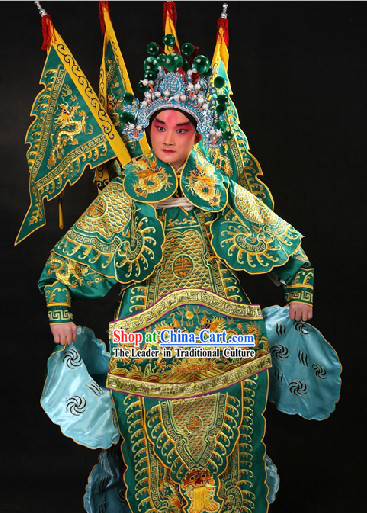 Traditional Chinese Wusheng General Hero Costumes and Hat