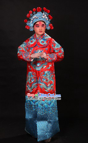 Red Traditional Chinese Opera Xue Pinggui Dragon Embroidery Jianyi Robe and Hat for Men