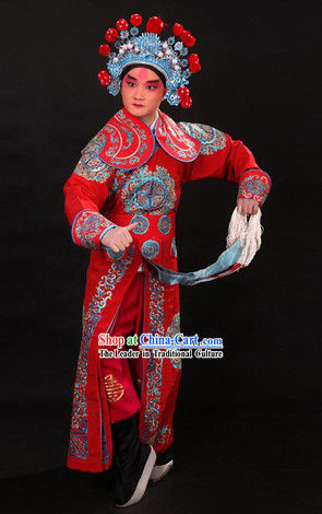 Traditional Chinese Wusheng Character Outfit and Helmet for Men
