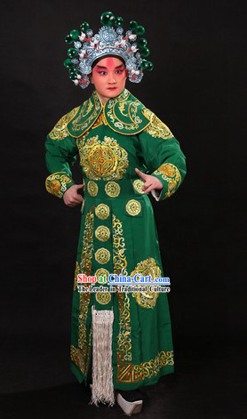 Traditional Chinese Wusheng Character Costume and Helmet for Men