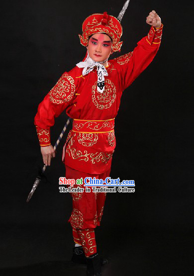 Red Traditional Chinese Drum Player Costume and Hat