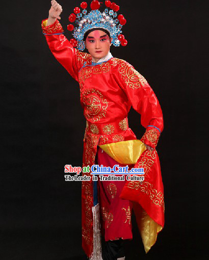 Red Traditional Chinese Beijing Opera Wusheng Role Costumes and Hat