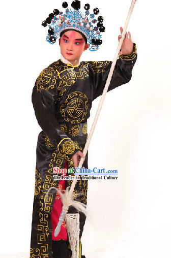 Black Traditional Chinese Opera Stage Performance Wusheng Role Costume and Hat