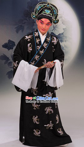 Tradiitonal Chinese Beijing Opera Xiaosheng Butterfly Embroidery Costumes and Hat for Men