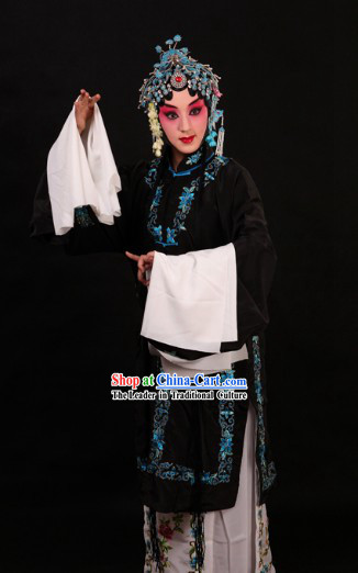 Black Chinese Peking Opera Qingyi Robe and Skirt for Women