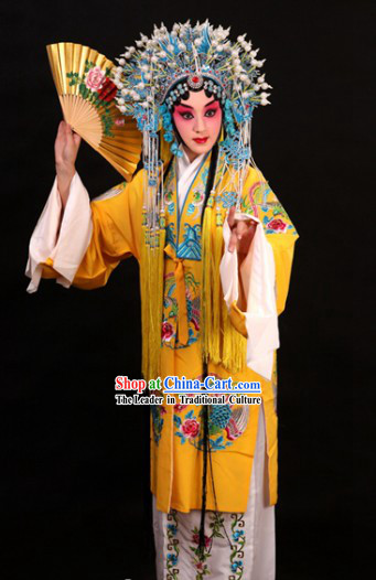 Yellow Chinese Peking Opera Empress Costumes and Phoenix Coronet Complete Set for Women