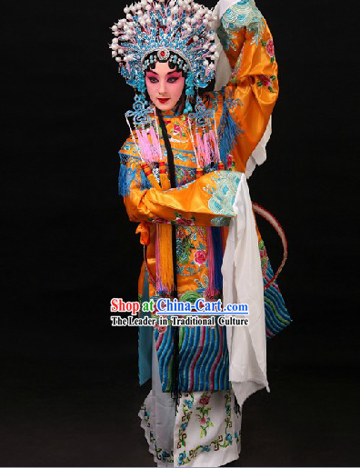 Gui Fei Zui Jiu Style Phoenix Embroidery Wedding Dress and Phoenix Coronet Complete Set
