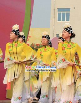 Yellow The Peach Blossom Fan Dance Costumes and Headwear for Women