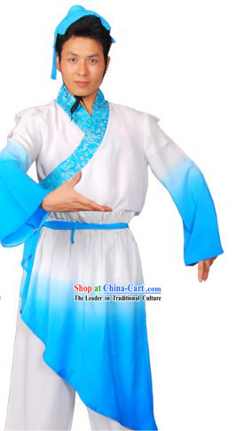 Colour Transition Chinese Classical Dancing Costumes and Headband Complete Set for Men