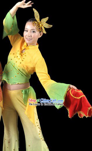 Traditional Chinese Handkerchief Dance Costume and Headgear for Women