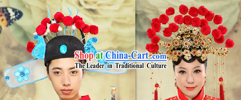 Ancient Chinese Bridegroom and Brides Wedding Marriage Hats