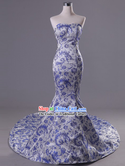 Gorgeous Chinese Classical Long Trail Phoenix Tail Evening Dress
