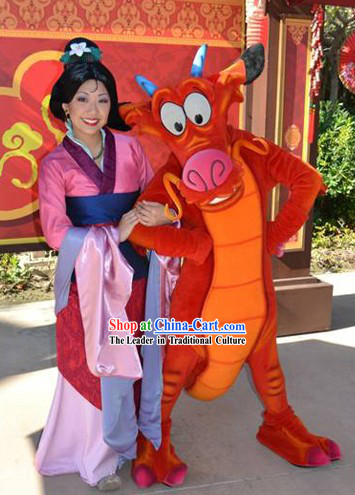 Chinese Female Heroine Hua Mulan Costumes and Hair Accessories Complete Set