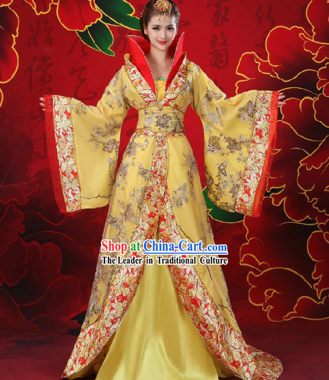 Ancient Chinese Empress Long Trail Costume and Hair Accessories