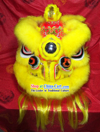 Supreme Chinese Festival Performance Yellow Wool Lion Dancing Costumes Complete Set