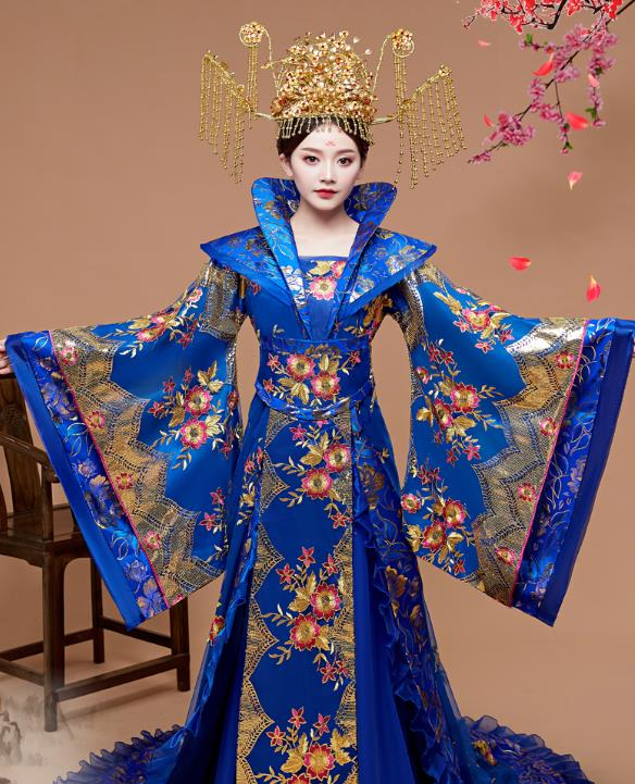 Ancient Chinese Wide Sleeves Princess Costumes and Umbrella Complete Set