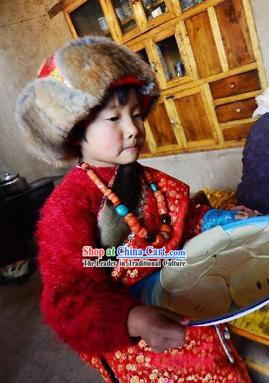 Traditional Tibetan Clothing and Hat for Children