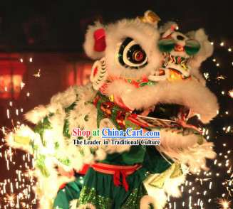 White and Green Fut San Traditional Lion Dance Props Full Set