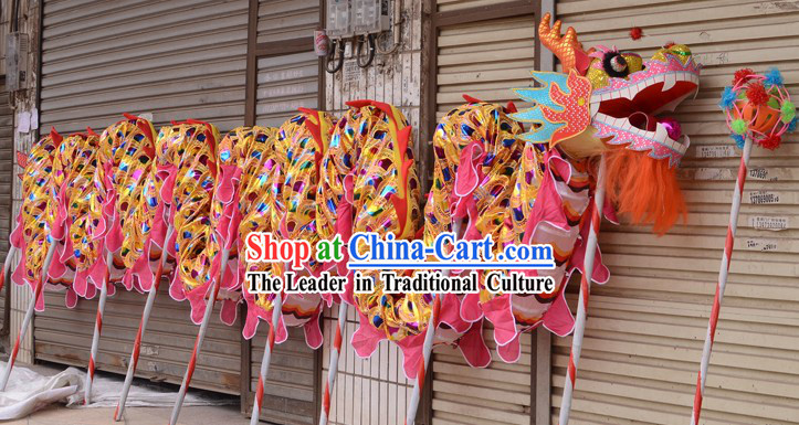 Gold Rainbow Color Chinese New Year Celebration Dragon Dance Costumes Complete Set