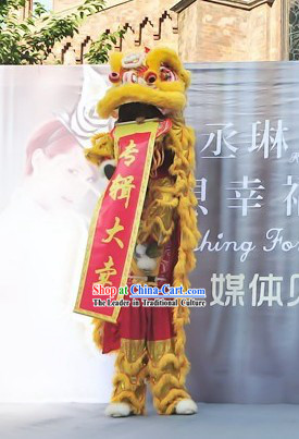 Yellow Color Chinese Lunar New Year Parade Celebration Lion Dance Costumes Complete Set