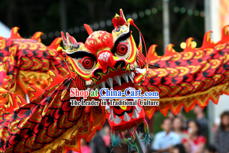Red and Gold Chinese Luminous Dragon Dancing Costumes Complete Set