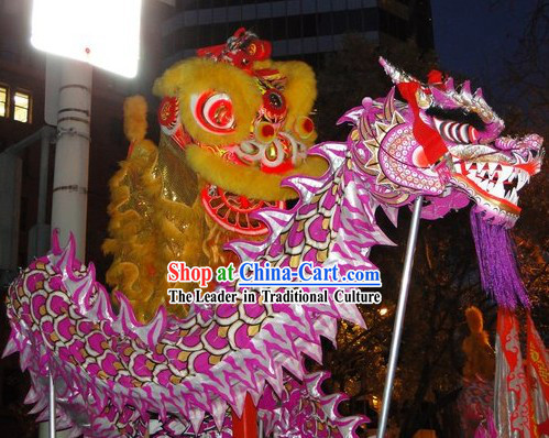 Purple Supreme Chinese Lunar New Year Parade Luminated Dragon Dancing Costumes Full Set