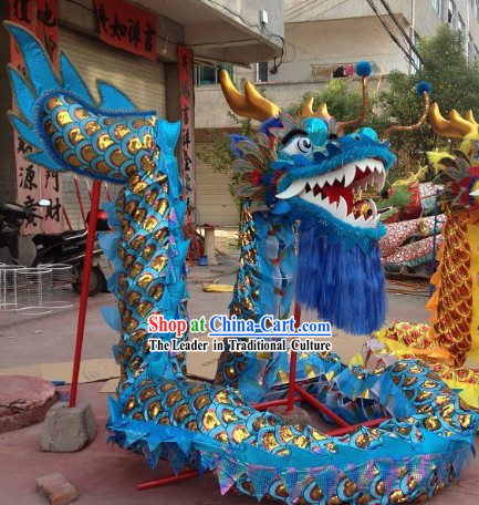 Traditional Handmade Gold Scale Blue Dragon Dancing Costumes Complete Set