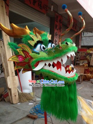Traditional Chinese Gold Scale Green Dragon Dance Costumes Complete Set