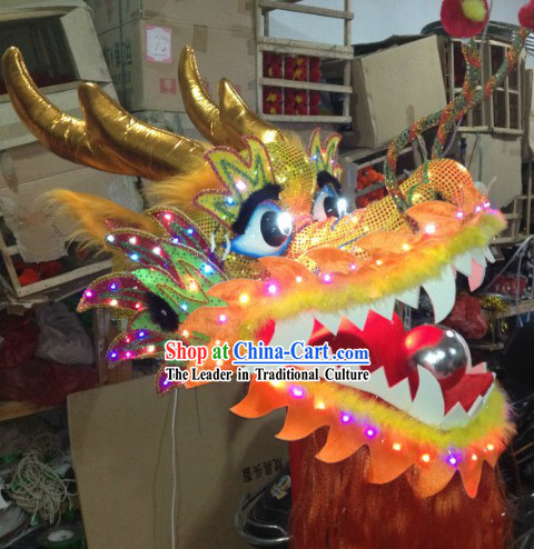 LED Luminous Flame Yellow Chinese Dragon Dance Head