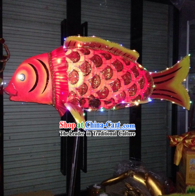 Handmade LED Luminous Chinese New Year Parade Traditional Fish Dance Prop