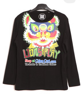 Black Lion Dance Cotton T-shirt