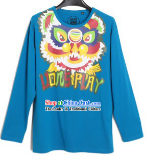 Blue Lion Dance Cotton T-shirt