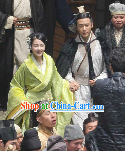 Chinese Ancient Prince and Princess Outfits and Headwear 2 Complete Sets