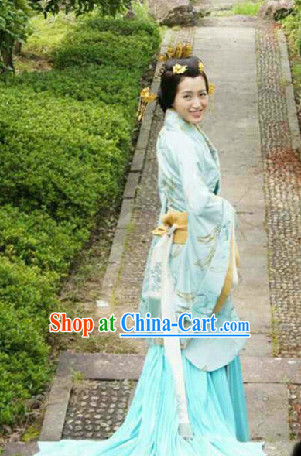 Chinese Han Dynasty Princess Outfit and Headwear Complete Set