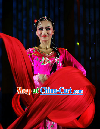 Chinese Wedding Dance Costumes Attire and Headwear Complete Set for Women