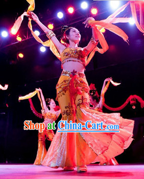 Chinese Dunhuang Stage Performance Dance Costumes and Headwear for Women