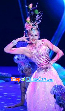 Asian Pink Lotus Dancing Costume and Headdress Complete Set for Women
