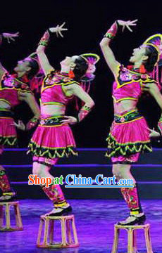 Chinese Folk Ethnic Costumes and Headdress Complete Set for Women