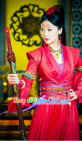 Ancient Chinese Red Swordswoman Costumes and Headpieces Full Set