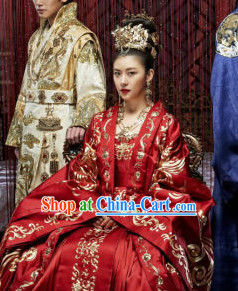 Ancient Korean Empress Costumes and Hair Accessories Complete Set