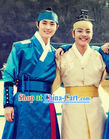 Ancient Korean Male Hanbok Clothing and Headwear Complete Set (the blue set)