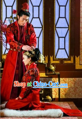 Traditional Chinese Happy Flower Embroidery Bridal Wedding Dresses and Headwear Two Complete Sets