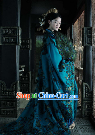 Ancient Chinese Empress Long Dress and Headwear Complete Set
